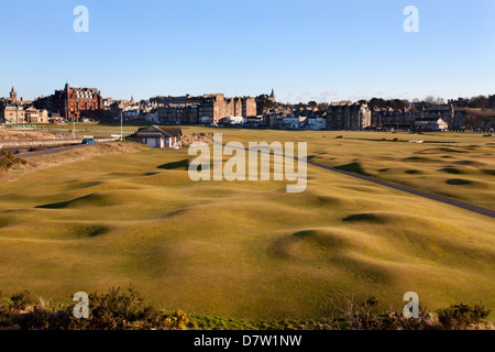 St. Andrews from the Clubhouse, Fife, Scotland, United Kingdom - Stock Photo