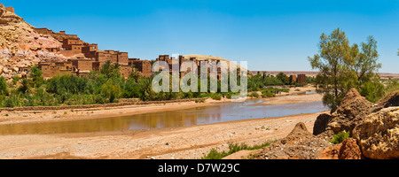 Kasbah Ait Ben Haddou and the Ounila River, UNESCO World Heritage Site, near Ouarzazate, Morocco, North Africa - Stock Photo