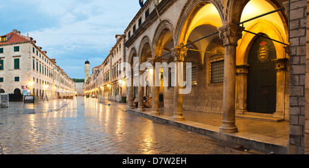 Dubrovnik Old Town, the Franciscan Monastery and Sponza Palace at night, UNESCO World Heritage Site, Dubrovnik, - Stock Photo