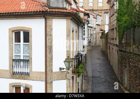 Franco Street in Old Town, Santiago de Compostela, Galicia, Spain - Stock Photo