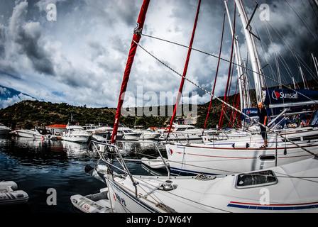 Split, Croatia, Yachts in the marina - Stock Photo