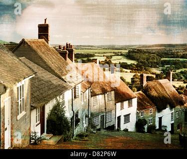 GB - DORSET: Gold Hill at Shaftesbury (Digital Art) - Stock Photo
