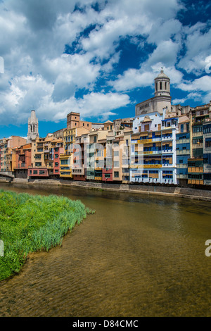 Colorful houses on the banks of River Onyar in Girona, Catalonia, Spain - Stock Photo
