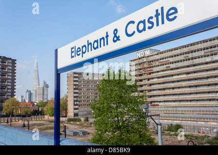Buildings of the Heygate Estate and the Shard from the Elephant and Castle station. - Stock Photo