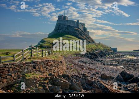 Lindisfarne castle, Holy Island, Northumberland, England, UK - Stock Photo