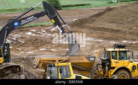 Waterlogged land being prepared for housing development, Grantham, Lincs - Stock Photo
