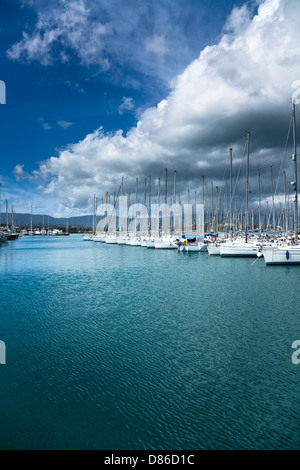 Yachts moored in Gouvia Marina, Corfu, Greece. - Stock Photo