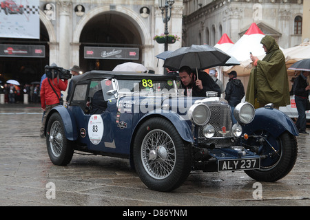 A vintage 1933 Aston Martin Le Mans competes in the 1000 mile Mille Miglia round trip from Brescia to Rome and back - Stock Photo