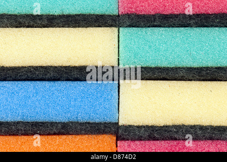 Picture of multi colored kitchen sponges. - Stock Photo