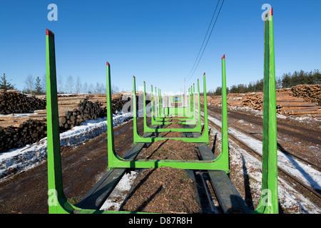 Empty log transport train , Finland - Stock Photo