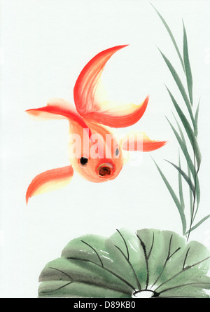 Goldfish and the lotus leave. Asian style original painting. - Stock Photo