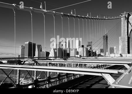 Manhattan from Brooklyn Bridge - Stock Photo
