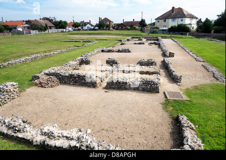 Caister Roman fort in Caister-on-Sea, Norfolk, England. Built around AD 200. A house, Building 1, including hypocaust - Stock Photo