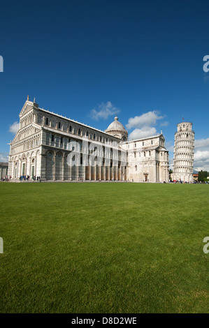 Piazza dei Miracoli/Piazza del Duomo - with Campanile and Duomo in Pisa, Tuscany, Italy, Europe - Stock Photo