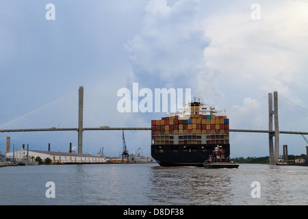 Large cargo carrier on his way through Savannah - Stock Photo