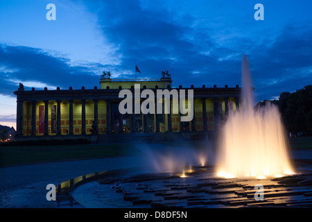 Altes Museum and Lustgarten fountain at twilight / dusk / night Museumsinsel Mitte Berlin Germany - Stock Photo