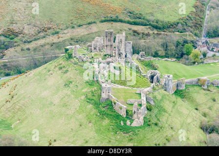 Aerial View Corfe Castle.Corfe Castle is a village and civil parish in the English county of Dorset. It is the site - Stock Photo
