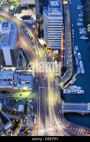Roads in Tokyo viewed from above the Minato Ward area. - Stock Photo
