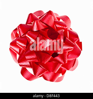 Red Christmas gift bow of ribbon isolated on white background - Stock Photo