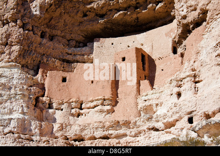 Closeup on cliff dwellings at Montezuma Castle National Monument near Camp Verde, Arizona - Stock Photo