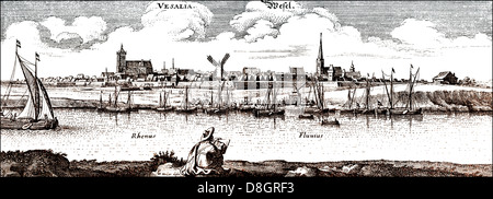 Panoramic view of Wesel, 17th century, Germany, Europe , - Stock Photo