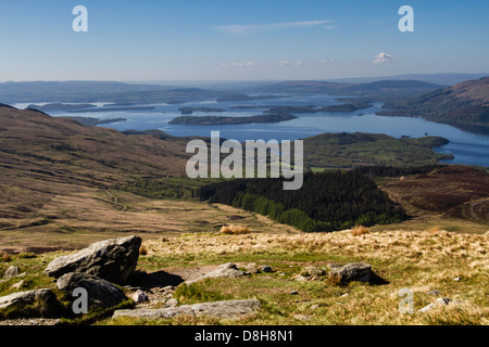 Looking back over Loch Lomond on the ascent of Ben Lomond - Stock Photo