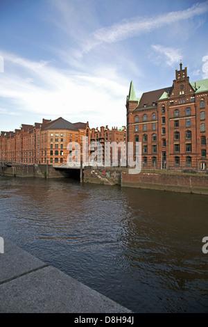 Historical warehouses in Hamburg, Germany - Stock Photo