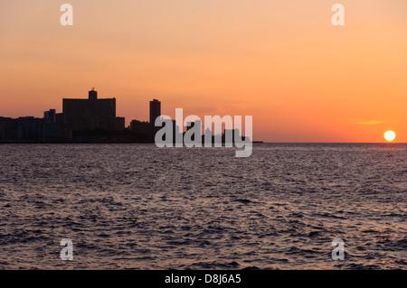 Havanna Skyline during Sunset including FOCSA Building and Hotel Nacional, Cuba,Caribbean - Stock Photo
