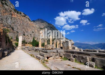 Delphi ancient ruins in Greece, classical landmark. - Stock Photo