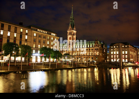 Alsterfleet and Townhall - Stock Photo