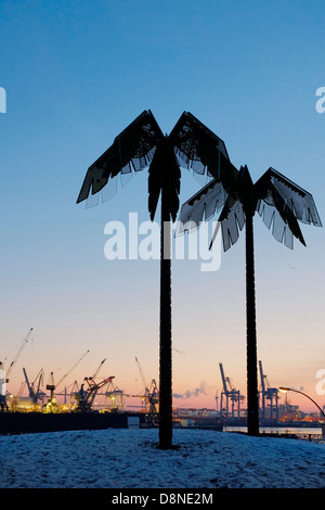 Steel palm trees against blue sky at Park Fiction, St. Pauli, Hamburg, Germany, Europe - Stock Photo