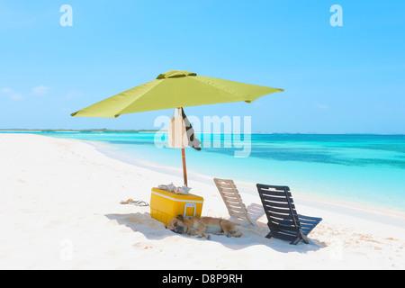 Parasol on the beach of archipelago Los Roques, Venezuela - Stock Photo