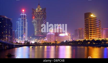 Resorts and casinos at Nam Van Lake in Macau S.A.R, China. - Stock Photo