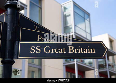 Bristol Harbour SS Great Britain Sign - Stock Photo
