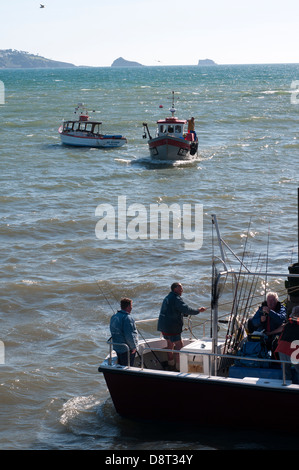 Fishing boats leaves Paignton Harbour, boat, fishing, sea, ship, trawler, small, ocean, blue, water, deep,  boat, - Stock Photo