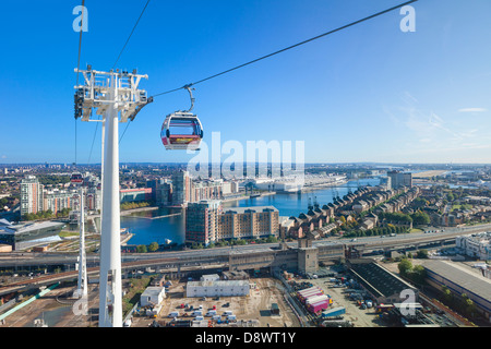 Aerial view from the Emirates Air Line cable car, London, England - Stock Photo