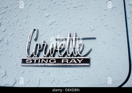 The Logo of  a Chevrolet Corvette with raindrops - Stock Photo