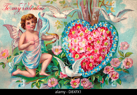 To My Valentine - Vintage Card with Cupid, floral heart and doves - Stock Photo