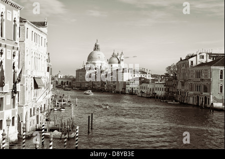 view of Grand Canal from Accademia Bridge, Venice - Stock Photo