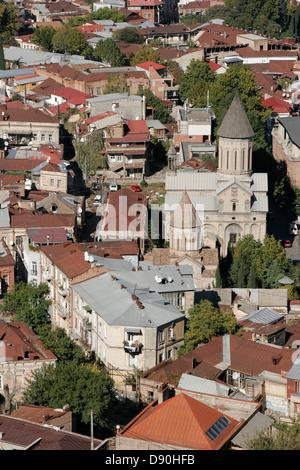 Panoramic view of Tbilisi city center, Georgia, Caucasus region - Stock Photo