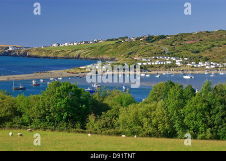 View from Poppit Sands on the River Teifi Estuary to Gwbert nr Cardigan Pembrokeshire Wales from Cemaes Head - Stock Photo