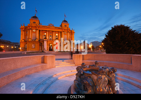 Zagreb town - Theater HNK, Sculpture, Ivan Mestrovic's Sculpture Fountain of Life - Stock Photo
