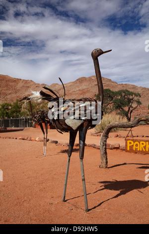 Metal ostrich sculpture, Ranch Koiimasis, Tiras Mountains, Southern Namibia, Africa - Stock Photo