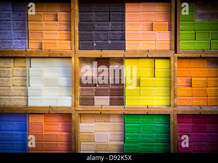 Typical soaps from Marseille, Provence at a market in Nice old town - Stock Photo