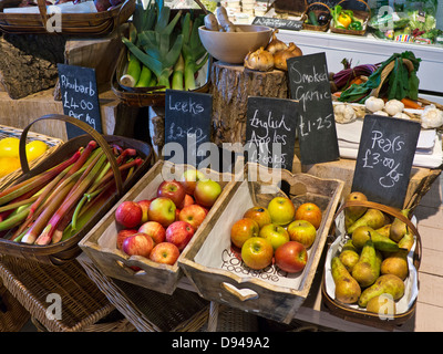 Traditional rural produce farm shop interior with fresh local fruit and vegetables on sale Cotswolds UK - Stock Photo