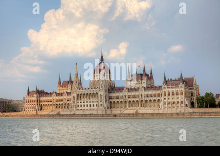 Hungary's Parliament is the largest building in the country and a symbol of Budapest - Stock Photo