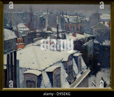 Gustave Caillebotte Vue de toits, effets de neige dit Toits sous la neige View of rooftops, aka The effects of snow - Stock Photo
