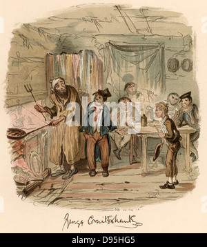 Scene from the novel 'Oliver Twist' by Charles Dickens originally published 1837-1839.  Illustration by George Cruikshank - Stock Photo