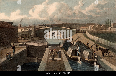 The Double Lock, & East Entrance to the Islington Tunnel, Regent's Canal, London. These are pound locks. The building - Stock Photo