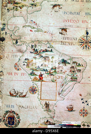 French map of Central and South America, showing Florida, Gulf of Mexico, Caribbean Islands and Antilles, River - Stock Photo